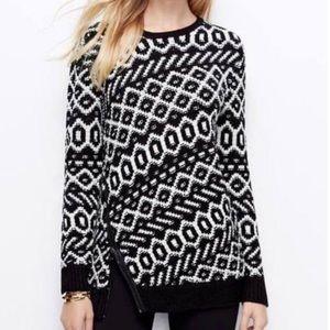 Ann Taylor Sweaters Zip Geometric Black/White  